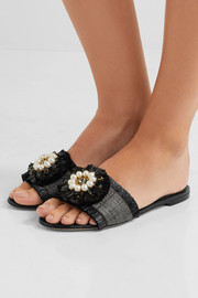Dolce & Gabbana Embellished patent leather-trimmed raffia slides
