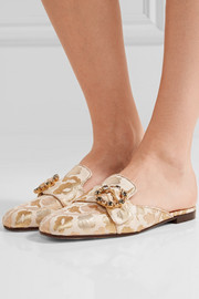 Dolce & Gabbana Crystal-embellished brocade slippers