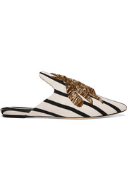 Embroidered striped canvas slippers