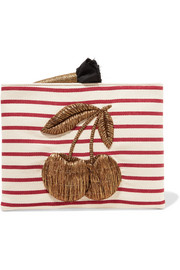Sanayi313 Embroidered striped canvas clutch