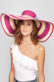 Corozon pompom-embellished woven straw hat