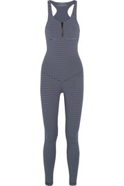 Olympus striped stretch-jersey bodysuit