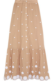 Miguelina Aiden embroidered cotton skirt