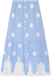 Adrienne broderie anglaise cotton midi skirt