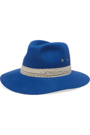 Henrietta cotton-trimmed rabbit-felt fedora