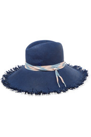 Ginger shoelace-trimmed frayed straw sunhat