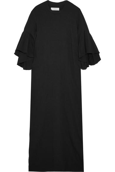 Facetasm - Ruffled Cotton-jersey Midi Dress - Black