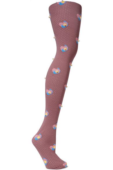 Marc Jacobs - Faux Pearl-embellished Intarsia Wool Knee Socks - Plum
