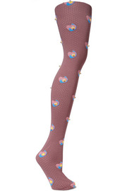 Faux pearl-embellished intarsia wool knee socks