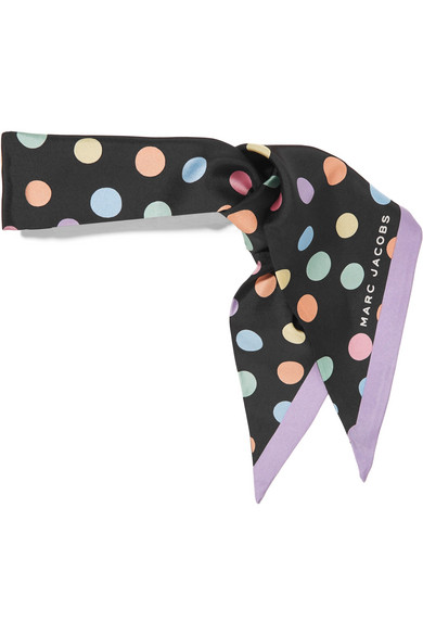 marc jacobs female marc jacobs polkadot silk crepe de chine scarf black