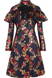 Gucci Crystal-embellished metallic floral-jacquard coat
