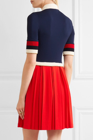GUCCI Bow-Detailed Ribbed Knit-Trimmed Pleated Stretch-Crepe Mini Dress