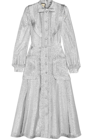 Gucci - Pussy-bow Ruffled Lamé Midi Dress - Silver