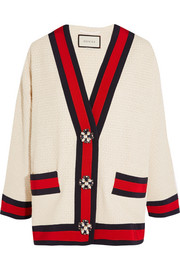 Gucci Embellished grosgrain-trimmed bouclé-tweed jacket