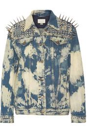 Oversized embellished bleached denim jacket