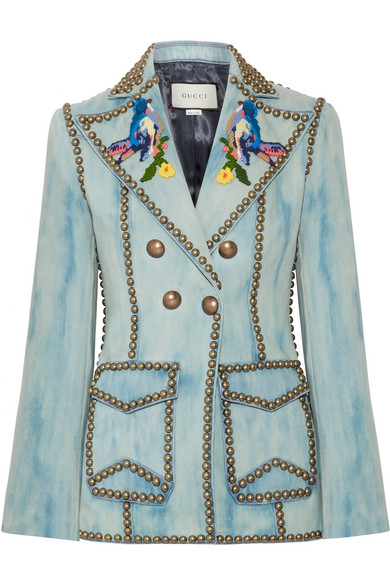 Gucci - Studded Embroidered Denim Blazer - Mid denim