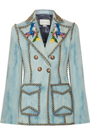 Gucci Studded embroidered denim blazer