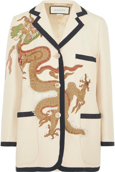 Gucci - Appliquéd Wool And Silk-blend Blazer - Ivory