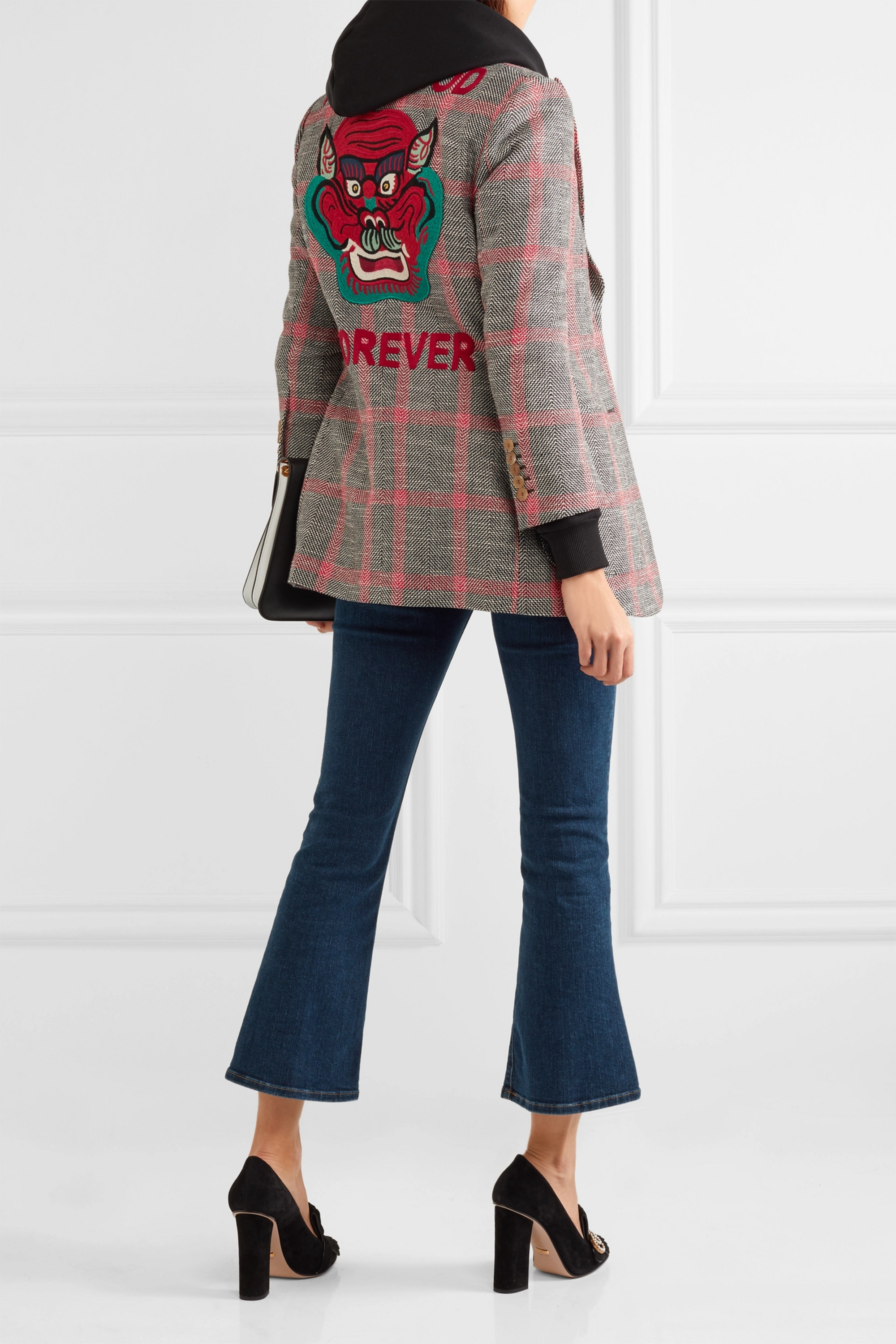 Gucci Appliquéd checked wool-blend tweed blazer
