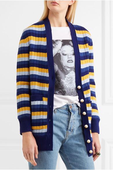 Gucci Wendbarer Cardigan aus gestreifter Wolle und bedruckter Seide Bestseller Verkauf Online bOMB0