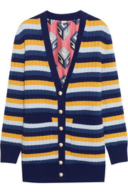 Reversible striped wool and printed silk cardigan