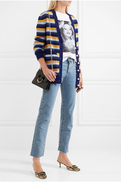 GUCCI Reversible Striped Wool And Printed Silk Cardigan