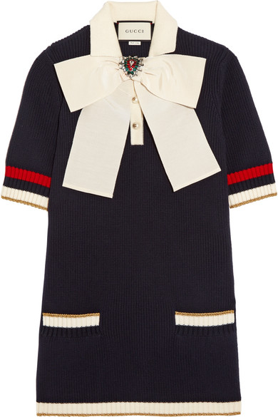 Gucci - Pussy-bow Knitted Cotton-blend Tunic - Navy
