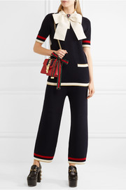 Gucci Pussy-bow knitted cotton-blend tunic