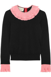 Embellished ruffled silk, wool and cashmere-blend sweater