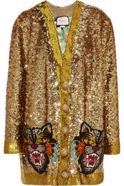 Reversible appliquéd sequined satin cardigan
