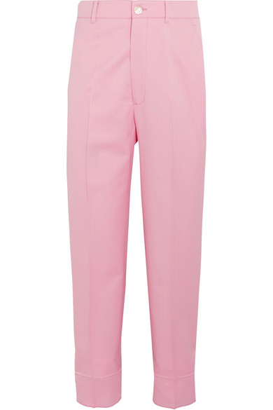 gucci female gucci cropped woolblend straightleg pants baby pink