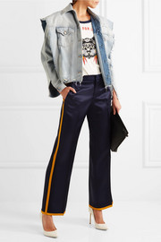 Striped satin flared pants
