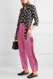 Gucci Ruffled cropped metallic tapered pants