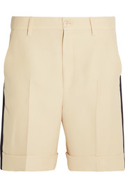 Grosgrain-trimmed wool-blend crepe shorts