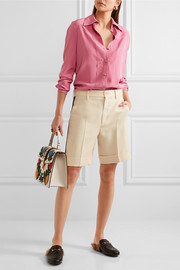 Gucci Grosgrain-trimmed wool-blend crepe shorts