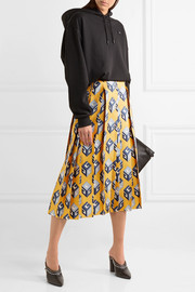 Pleated printed silk-twill  midi skirt