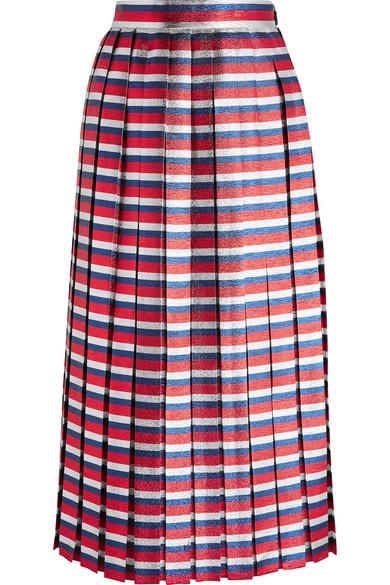 Gucci Pleated Striped Silk-Blend LamÉ Midi Skirt, Red Blue