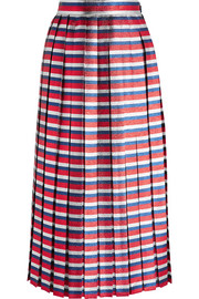 Pleated striped silk-blend lamé midi skirt