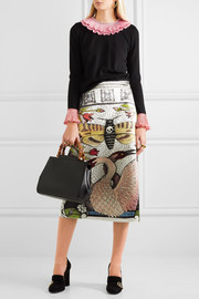 Gucci Printed duchesse silk-satin midi skirt