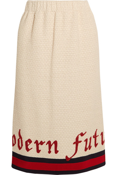 Gucci - Embroidered Cotton-blend Bouclé-tweed Midi Skirt - Ivory
