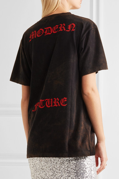 GUCCI Embroidered Cotton T-Shirt - Black Cotton Jersey in Black-Print