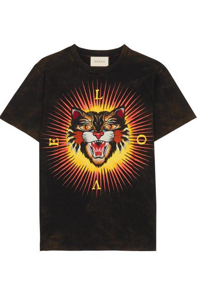 29e1b6fc Gucci | Appliquéd printed cotton-jersey T-shirt | NET-A-PORTER.COM