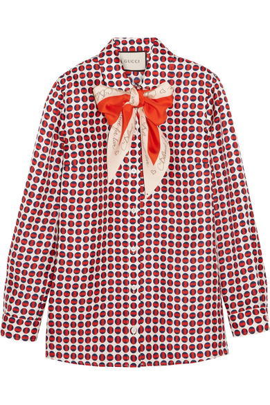 Gucci - Pussy-bow Printed Silk-twill Shirt - Red