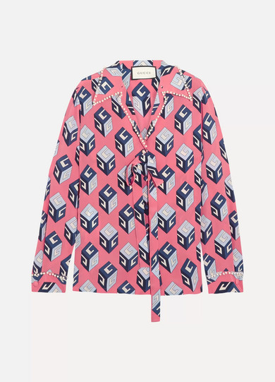 Gucci - Embellished Printed Silk Crepe De Chine Blouse - Pink