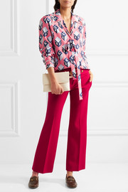 Gucci Embellished printed silk crepe de chine blouse