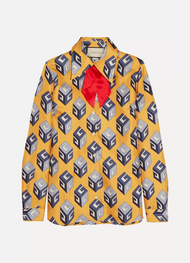 Gucci - Pussy-bow Printed Silk-twill Shirt - Yellow