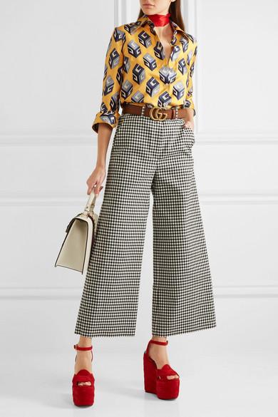 Günstig Kaufen Besten Großhandel Gucci Hemd aus Seiden-Twill mit Print und Schluppe Neue Ankunft Verkauf Online MfC6y