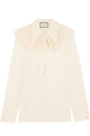 Lace-trimmed crystal-embellished silk crepe de chine blouse