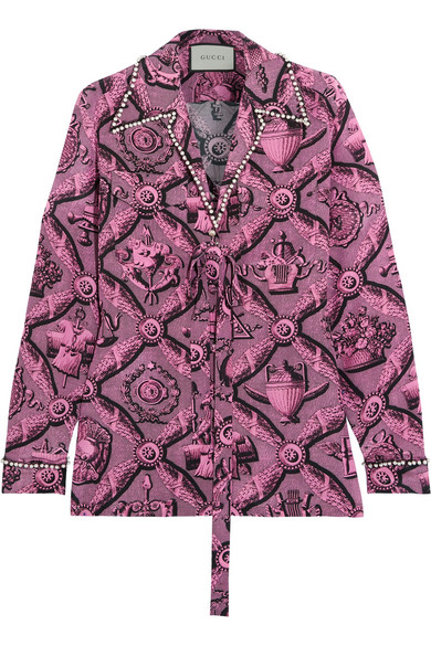 Gucci - Faux Pearl-embellished Printed Silk Crepe De Chine Blouse - Pink