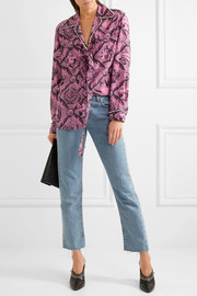 Gucci Faux pearl-embellished printed silk crepe de chine blouse